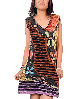 Black & Brown Patchwork Dress