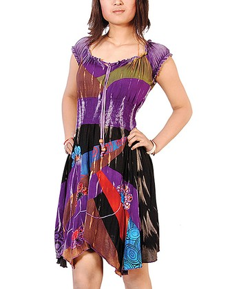 Purple & Black Patchwork Handkerchief Dress