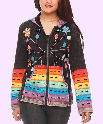 Black Rainbow Floral Zip-Up Hoodie