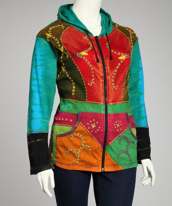 Green & Red Patchwork Zip-Up Hoodie - Plus