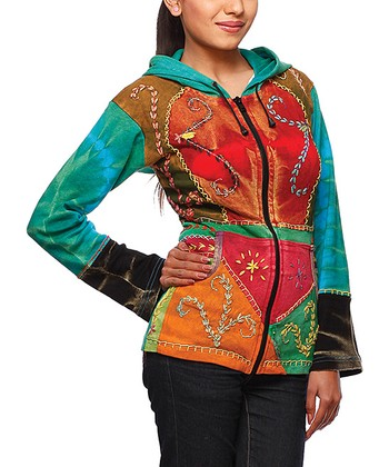 Green & Red Tie-Dye Embroidered Hoodie