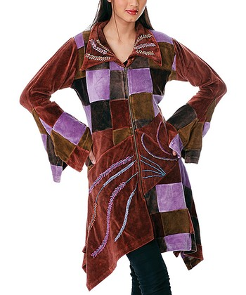 Brown & Purple Patchwork Jacket