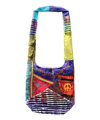 Green & Purple Peace Embroidered Hobo