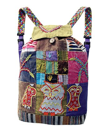 Brown & Green Owl Patchwork Backpack