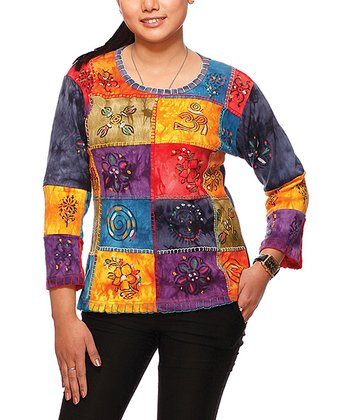 Blue & Yellow Patchwork Top