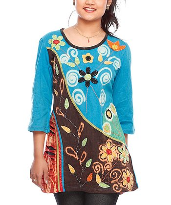 Turquoise & Brown Floral Tunic - Women