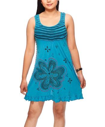 Blue Floral Ruffle Scoop Neck Dress
