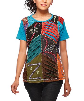 Blue & Red Patchwork Top
