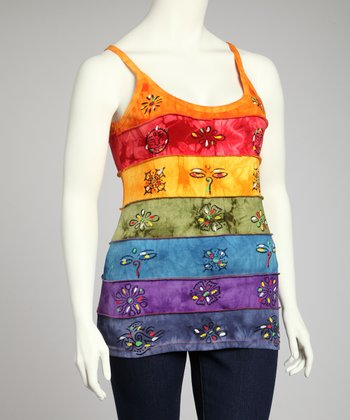 Rainbow Sun Stripe Tank - Plus
