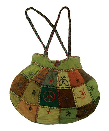 Green & Brown Peace Om Patchwork Shoulder Bag
