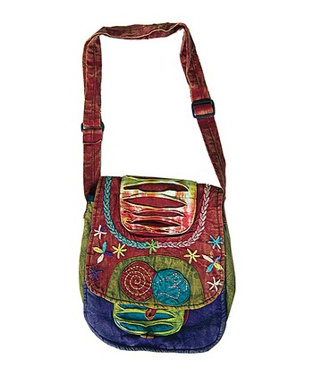 Maroon & Green Embroidered Messenger Bag