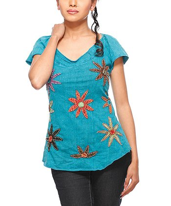 Turquoise Floral Angel-Sleeve Top