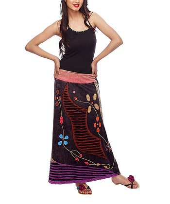 Brown & Purple Embroidered Maxi Skirt