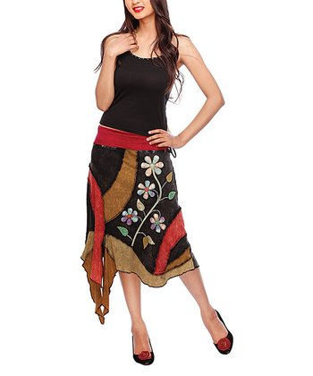 Black & Brown Floral Handkerchief Skirt