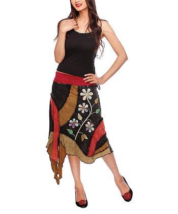 Black & Brown Floral Handkerchief Skirt