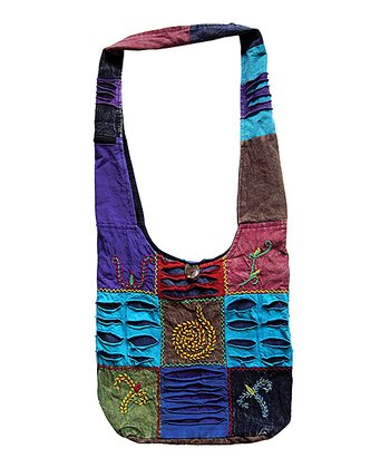 Purple & Blue Embroidered Patchwork Hobo