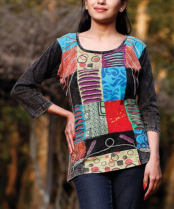 Black & Blue Embroidered Patchwork Top