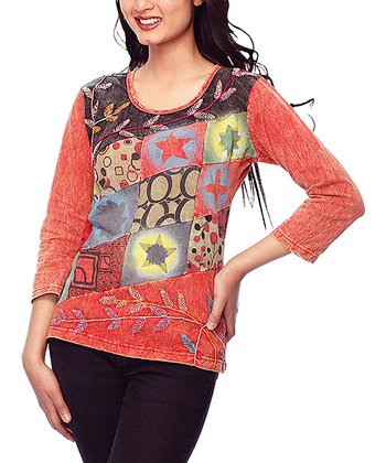 Red Embroidered Patchwork Top - Women
