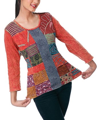 Red & Blue Embroidered Patchwork Top - Women