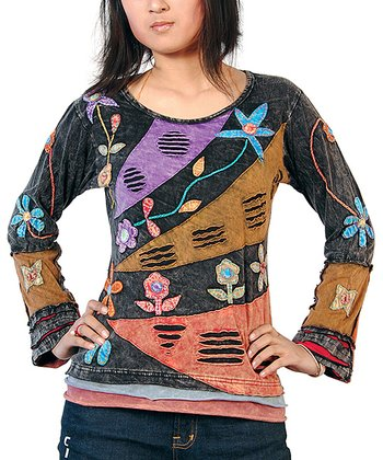 Black & Brown Floral Patchwork Top - Women