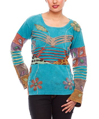 Turquoise Floral & Stripe Patchwork Top - Women