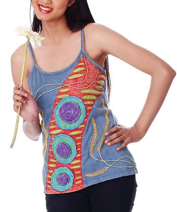 Blue & Red Embroidered Rosette Camisole