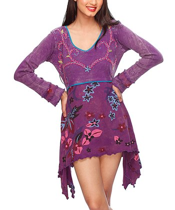 Purple Floral Sidetail Dress - Women