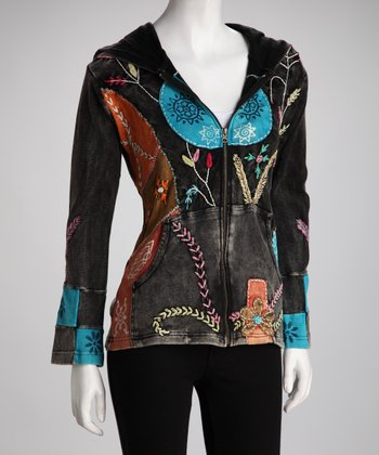 Black & Blue Patchwork Zip-Up Jacket - Women