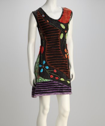 Black & Red Abstract Pattern Sleeveless Dress - Plus