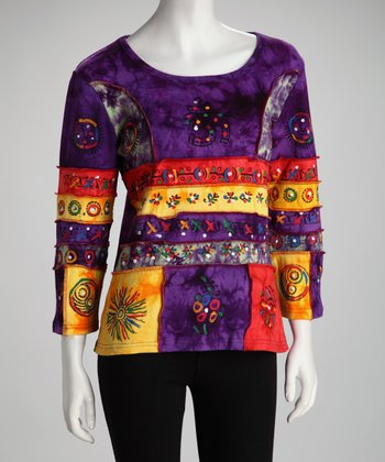 Purple Embellished Patchwork Top