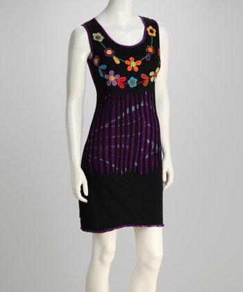 Black & Purple Blossom Sleeveless Dress