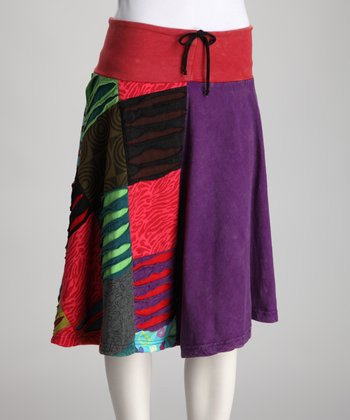 Pink & Purple Patchwork Skirt