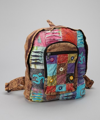 Brown & Blue Patchwork Backpack