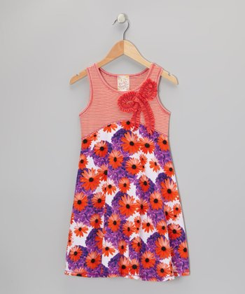 Violet & Orange Stripe Floral Bow Dress - Girls