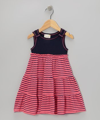 Hot Pink & Navy Stripe Dress - Toddler & Girls