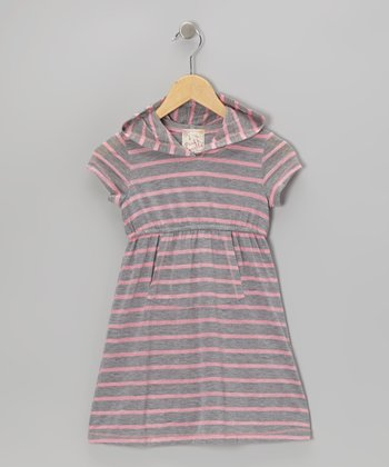 Heather Gray & Pink Stripe Hooded Dress - Girls