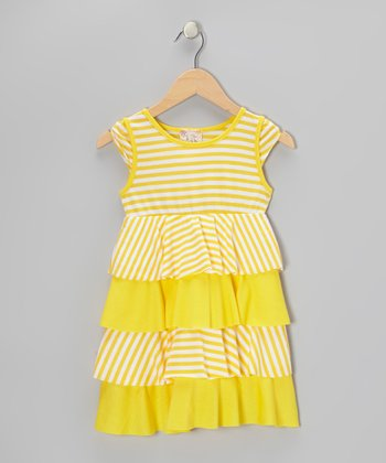 Yellow & White Stripe Tiered Ruffle Dress - Toddler & Girls