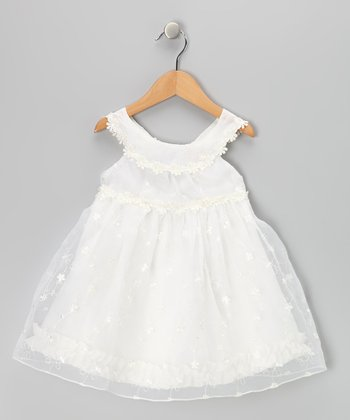 Ivory Flower A-Line Dress - Toddler & Girls