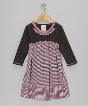 Pink & Charcoal Double Ruffle Dress - Toddler