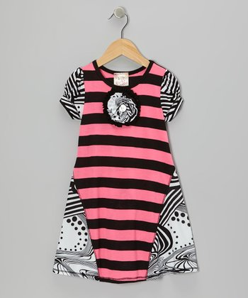 Neon Pink & Black Stripe Blossom Dress - Toddler