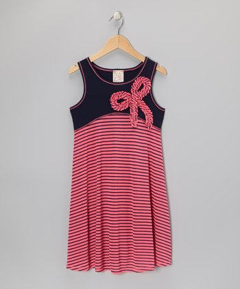 Neon Pink & Navy Stripe Bow Dress - Girls