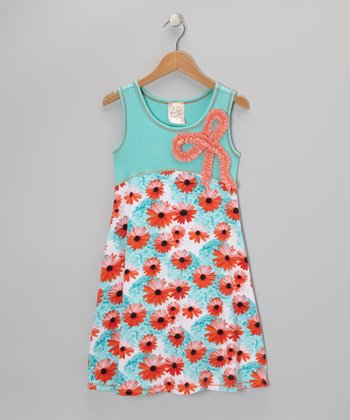 Seafoam & Orange Floral Bow Dress - Girls