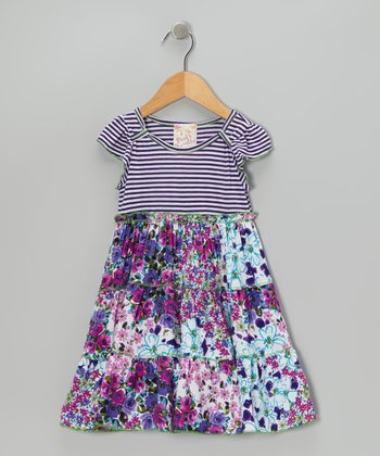 Purple Floral Tier Dress - Toddler