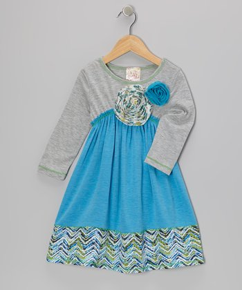 Turquoise Big Ol' Blossom Dress - Girls