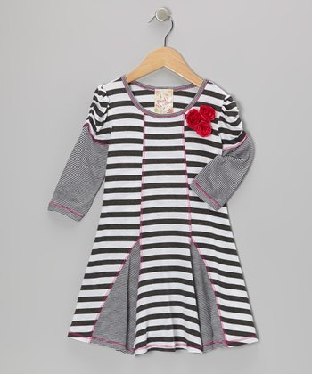 Charcoal & White Stripe Princess Dress - Girls