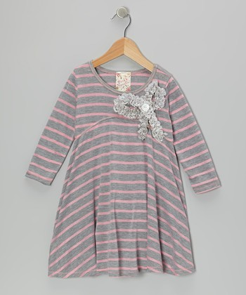 Gray & Pink Stripe Bow Dress - Girls