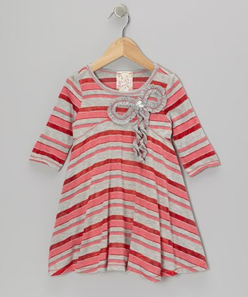 Gray & Red Stripe Bow Dress - Girls
