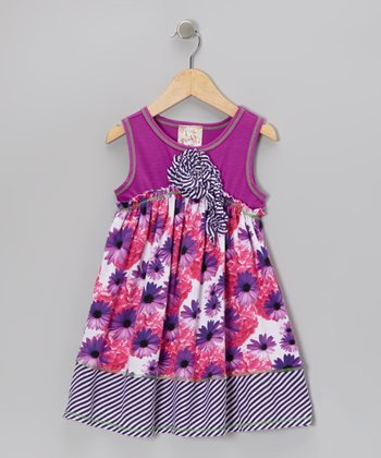 Violet & Fuchsia Floral Blossom Dress - Girls