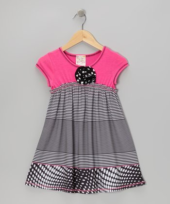 Hot Pink & Black Blossom Dress - Girls