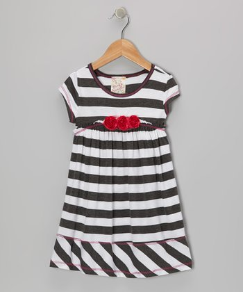 Charcoal & White Stripe Rosette Dress - Girls